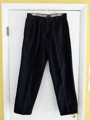 Mens DOCKERS BLACK 33x32 33x30 PANTS Relaxed Fit Cotton Casual Khakis Pleated Pleats Relaxed Fit Khakis
