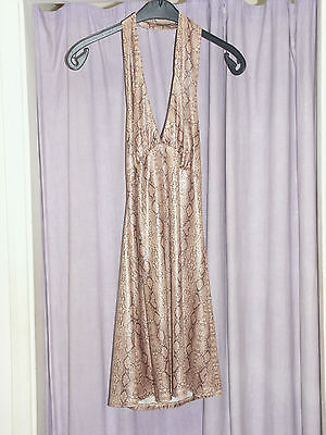 Women's 70s  Gold Snake Halter Neck Mini Dress & Hat  34