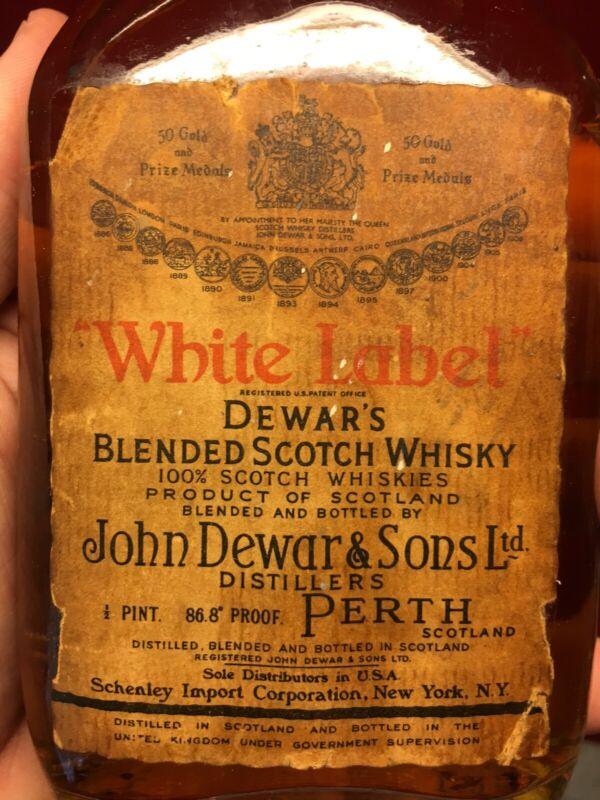 MEGA RARE VTG DEWARS WHITE LABEL JOHN DEWAR BOTTLE SCOTCH WHISKEY 1950's PERTH