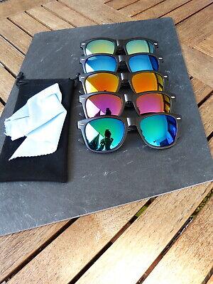 Sonnenbrille Retro Nerd Verspiegelt Schwarz Matt Blau Grün Orange Wayfarer