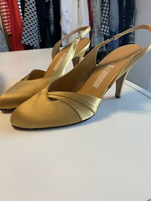 VINTAGE GUCCI SATIN SHOES MUSTARD YELLOW 7.5 38 LIKE NEW