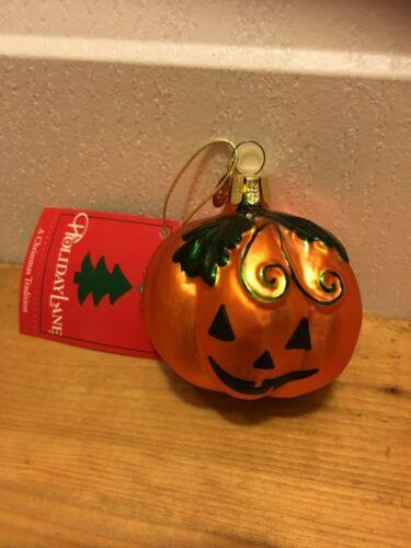 Holiday Lane: Hand-Blown, Hand Painted HALLOWEEN PUMPKIN  Glass Ornament