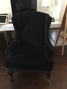 Black velvet wing chair (2 available)
