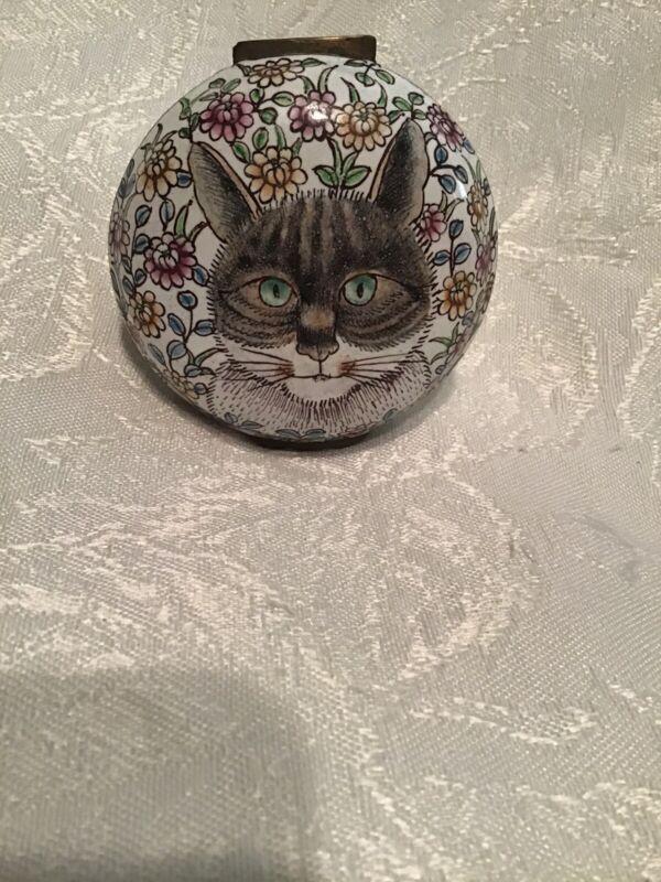 ENAMELED CAT TRINKET BOX CAT LOVERS