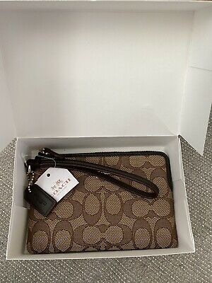 Brand new COACH tan / brown WRISTLET / Purse with box & tags
