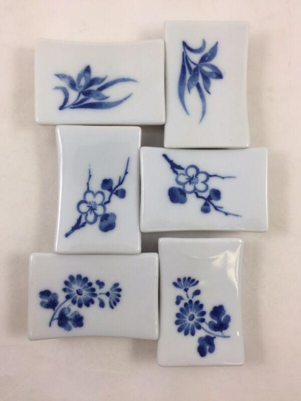 Vintage Porcelain Chopstick Holders Blue & White Spoon Rests Japan Set of 6