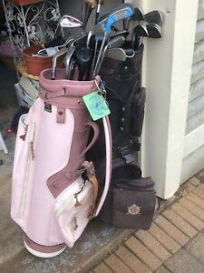 A bunch of golf clubs and are we cool retro pink bag