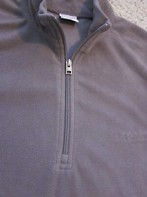 Men's COLUMBIA Long Sleeve Polyester Micro Fleece Taupe 1/2 Zip Pullover Shirt L Microfleece 1/2 Zip Pullover