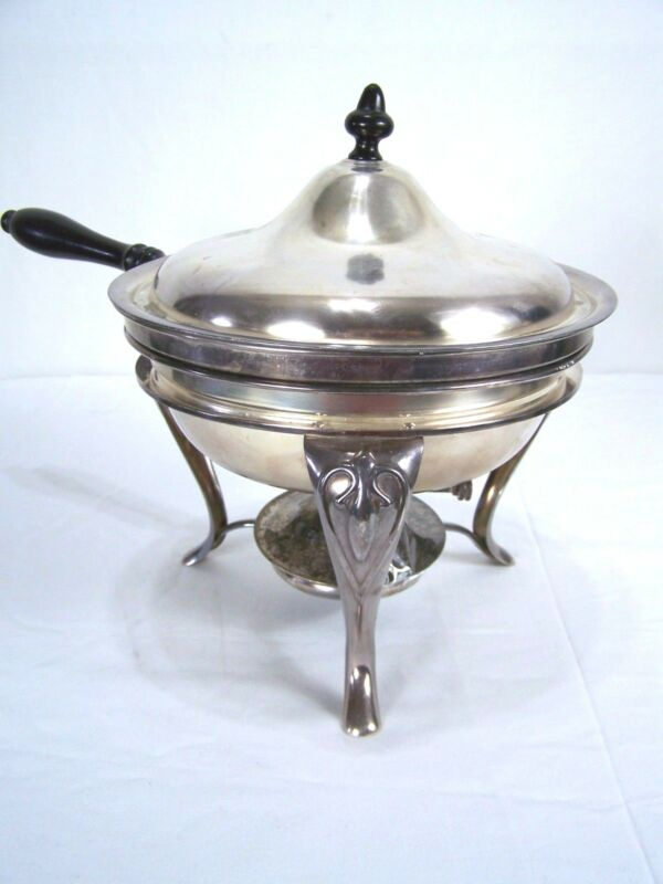 Silver Plate Warmer S & Co Detailed Chafing Chafer Dish
