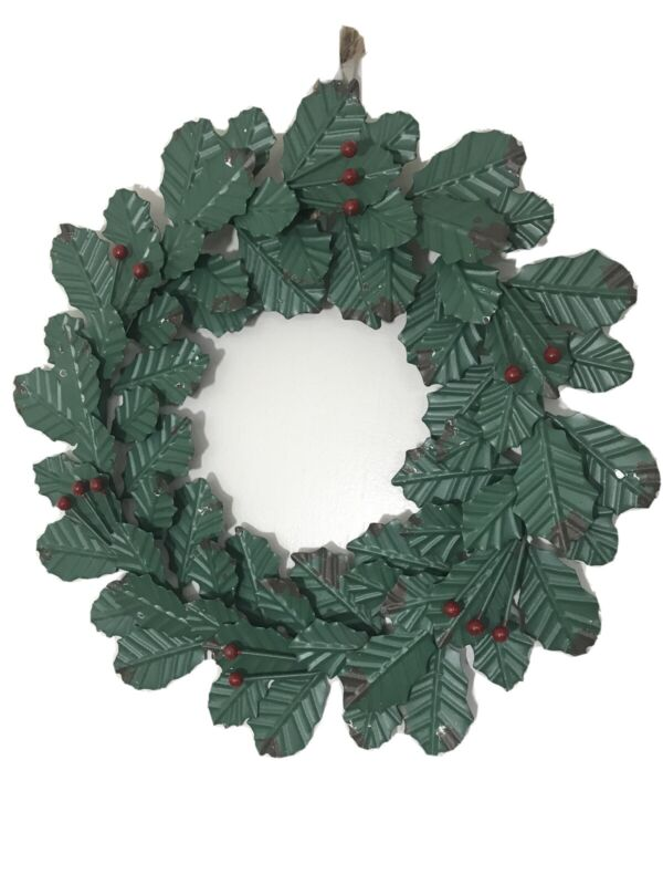 """NEW Holly and Berries Rustic Primitive Metal Wreath Winter Holiday Décor, 14"""""""
