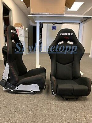 Pair 2 - BRIDE GIAS V1 Black Cloth FRP Shell Racing Seats Bucket Slider Rail -