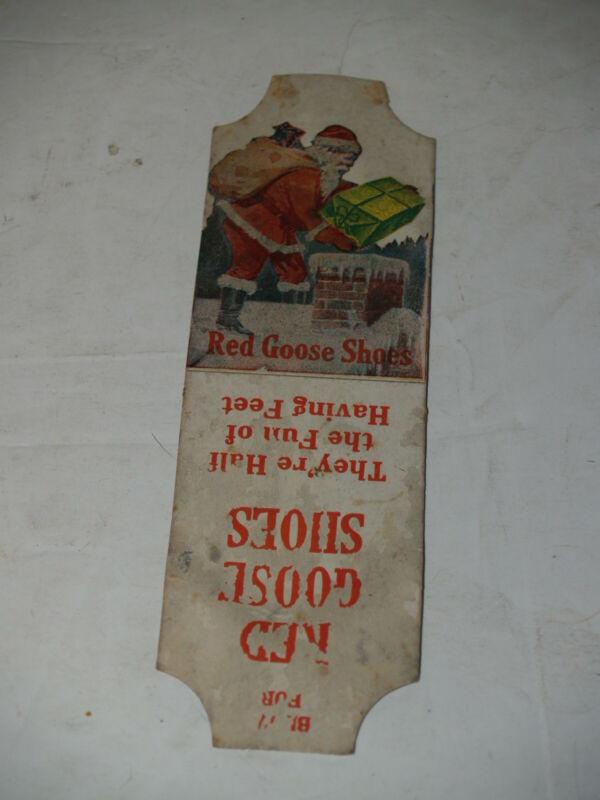 Vintage Original Red Goose Shoes Carboard noisemaker with Santa pat