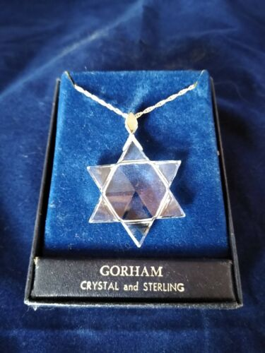Vintage Gorham Crystal Star of David Necklace with Sterling Chain