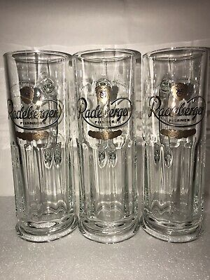 (3) .5L GERMAN RADEBERGER PILSNER TALL CLEAR BEER GLASSES GERMAN BEER CREST/GOLD