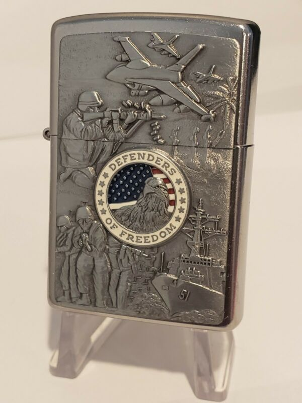 Vintage Zippo Military Lighter DEFENDERS OF FREEDOM Army Navy Air Force Marines