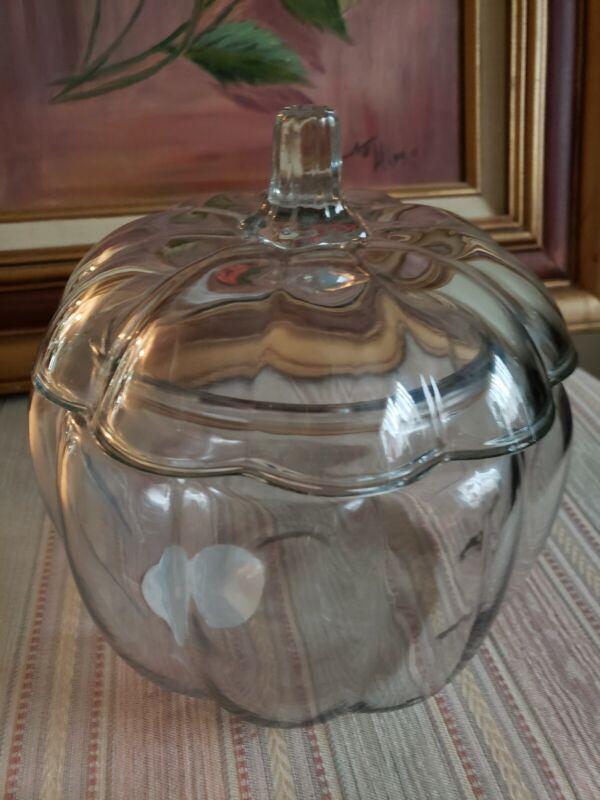 Pumpkin Glass Candy Jar