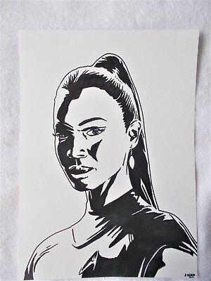 A4 Art Marker Pen Sketch Drawing Zoe Saldana as Uhura from Star Trek Poster