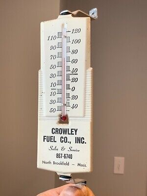 Vintage Crowley Fuel Co Thermometer North Brookfield Massachusetts Gas Oil Sign