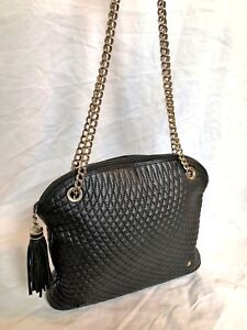 Authentic Bally Quilted Black Leather Tassel Chain Strap Zip Top Shoulder Bag