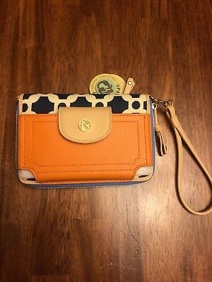 Spartina 449 Purse Clutch Multi Phone Wallet Linen And Leather NEW With Tags
