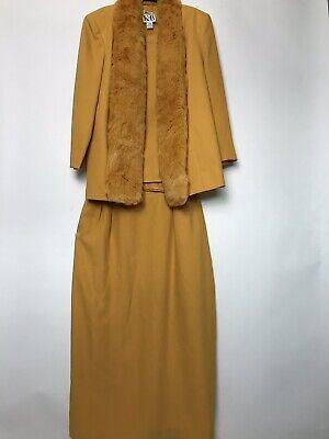 Vintage KB Stella Louise Yellow 3 Piece Skirt Suit Faux Fur Plus Size -