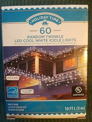 Holiday Time pk of 60 Random Twinkle LED Cool White Icicle Lights White Wire 10'