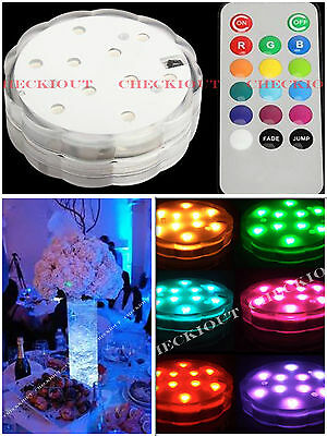 10 Multi Color 10LED Submesible Waterproof Wedding Vase Base Light Floral Remote