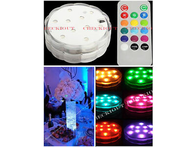 10 Multi Color 10LED Submesible Waterproof Wedding Vase Base Light Floral Remote