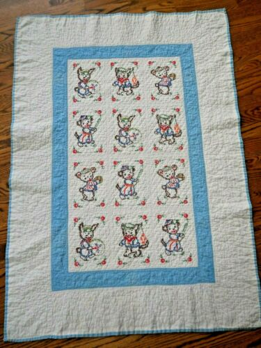 Adorable Vintage Hand Quilted & Embroidered Baby Nursery Quilt