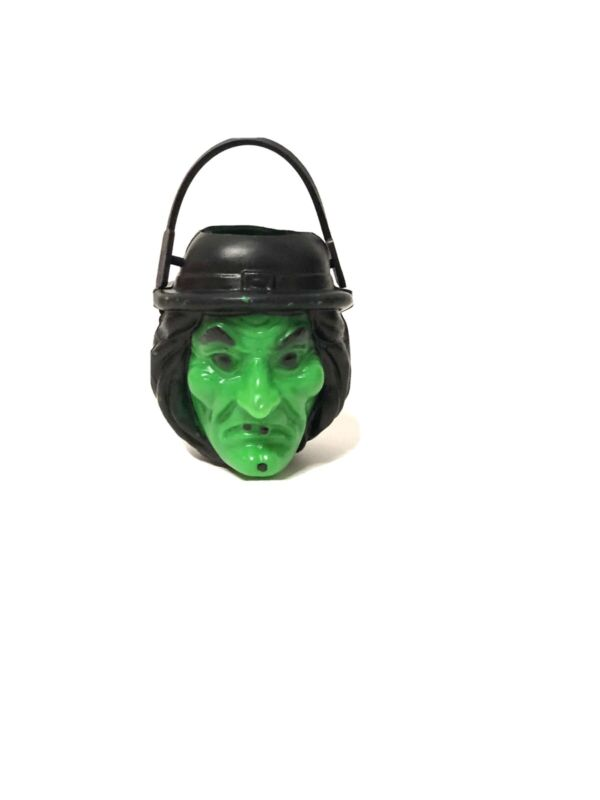 VTG CLASSIC plastic Halloween GREEN WITCH CANDY CONTAINER Bucket Blow Mold DECOR