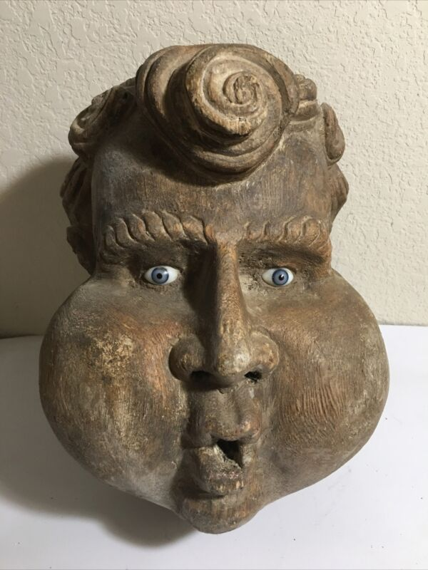 INCREDIBLE ANTIQUE MEXICAN MASK WITH GLASS EYES CHERUB VERY RARE