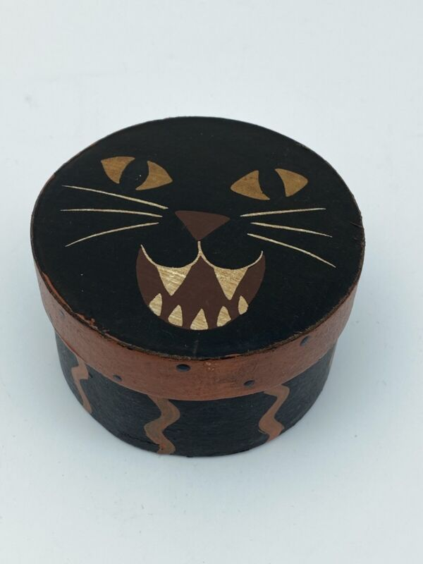 Vintage HALLOWEEN Black Cat Candy Box Container Gift Box Cardboard
