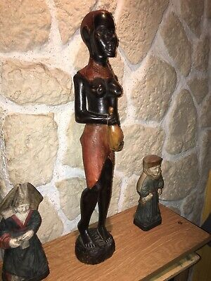 Statue Africa Ethnic Tribe Maasai Wood Carved Polychrome Lidded Square Form