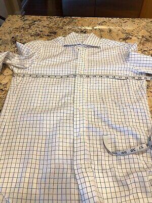 Barba Napoli Men's Button Front Dress Shirt White Blue & Brown 15.5 (39) EUC