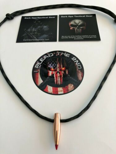 1 HOG TOOTH Paracord Necklace + 1 Decal ...(.30 Cal  Red Tip)  ...Wood Camo