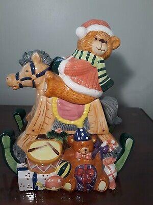 Cookie Jar - Ceramic Rocking Horse And Bear Musical - 11x13 - Gorgeous -...