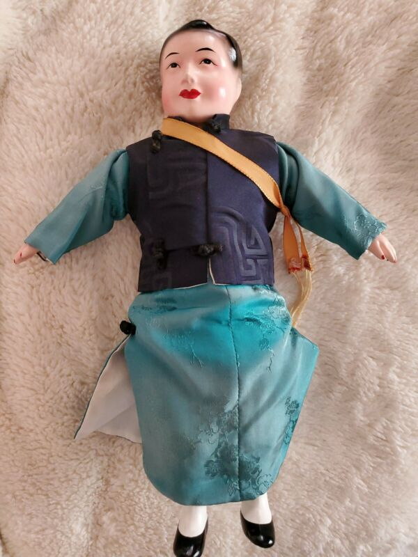 Antique Chinese Doll  and Original red silk costume Clothes