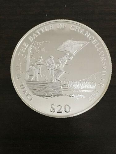 2000 Liberia $20 Civil War Battle of Chancellorsville 20g Silver Coin