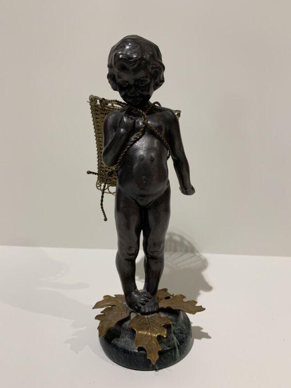 Vintage Bronze ? Blackamore Nubian Child Statue Petites Choses USA Marble base