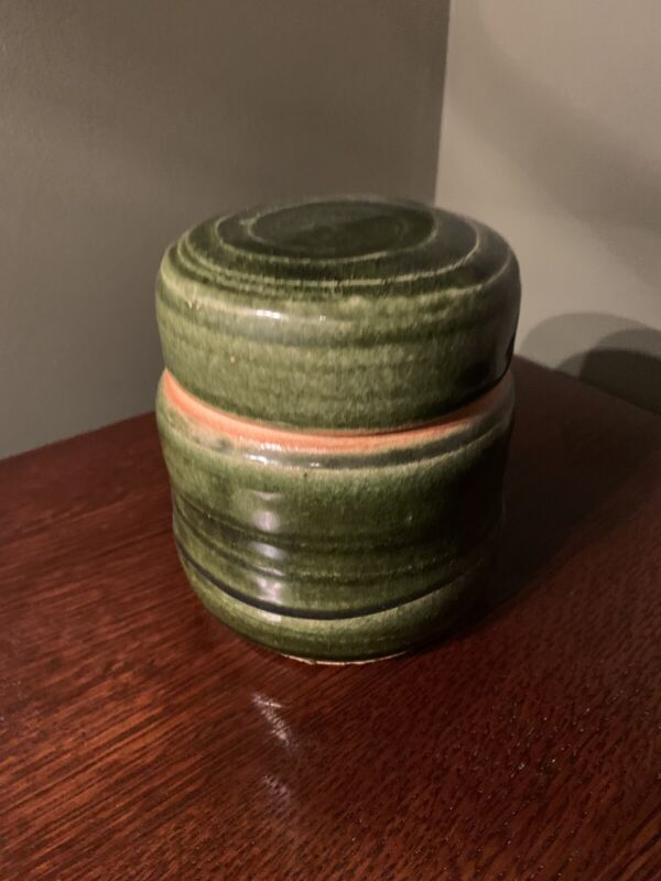 "Warren Mackenzie 5""H X4""W Green Glaze Mingei Small Lidded Container"