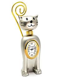 XANADU:CAT CARD HOLDER GOLD/SILVER FINISH METAL COLLECTOR EDITION MINI CLOCK