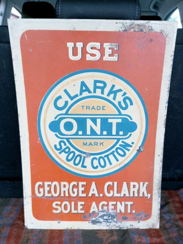 "VTG Original Clarks ONT Spool Cotton Advertisement Tin Sign  20""x14"" AGENT SIGN!"