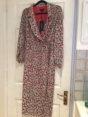 Selected Femme Orange Black Beige Patterned Cross Body Dress Sz 10 Bnwt