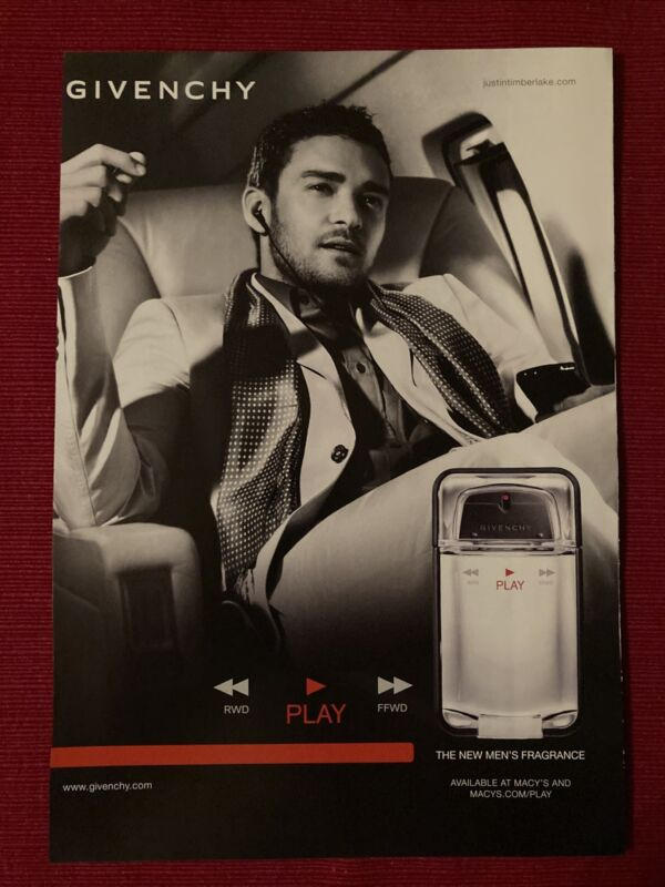 Justin Timberlake for Givenchy Cologne 2009 Ad/Poster Promo Art Ad