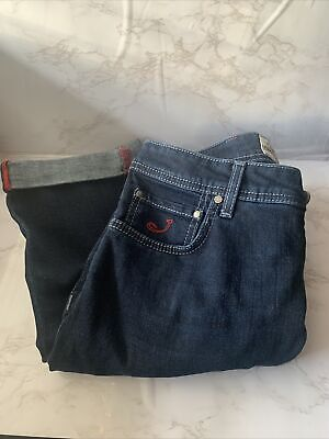 Handmade Jacob Cohen Jeans Size 34 Blue Jeans With Blue Stitching