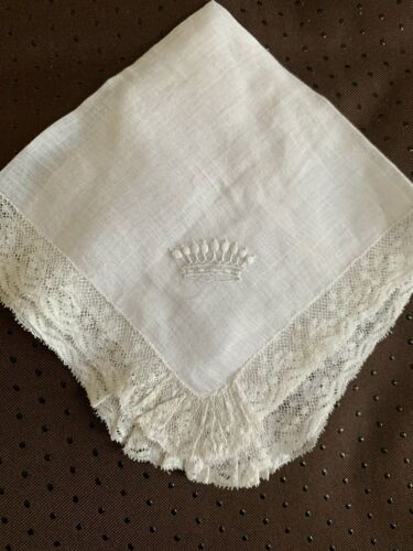 Antique French handkerchief, Hand embroidered with Marquis Crown & Valenciennes