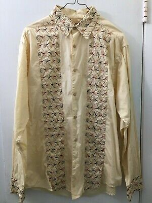 THE HAVANERA CO Men's 100% Cotton Embroidered Long sleeve button down shirt M