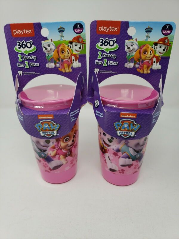 Paw Patrol Set of 2 Pink Playtex Spoutless Cups 10oz Stage 2 Girls 12m+Sippy Cup