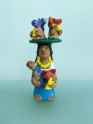 "SIGNED 7.25"" JOSEFINA AGUILAR Muneca Animal Band Hat Oaxaca Mexican Folk Art"