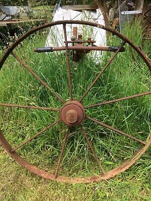 Pair Antique Wrought Iron Horse Rake Wheels Cart Shepherds Hut Garden Ornament 1